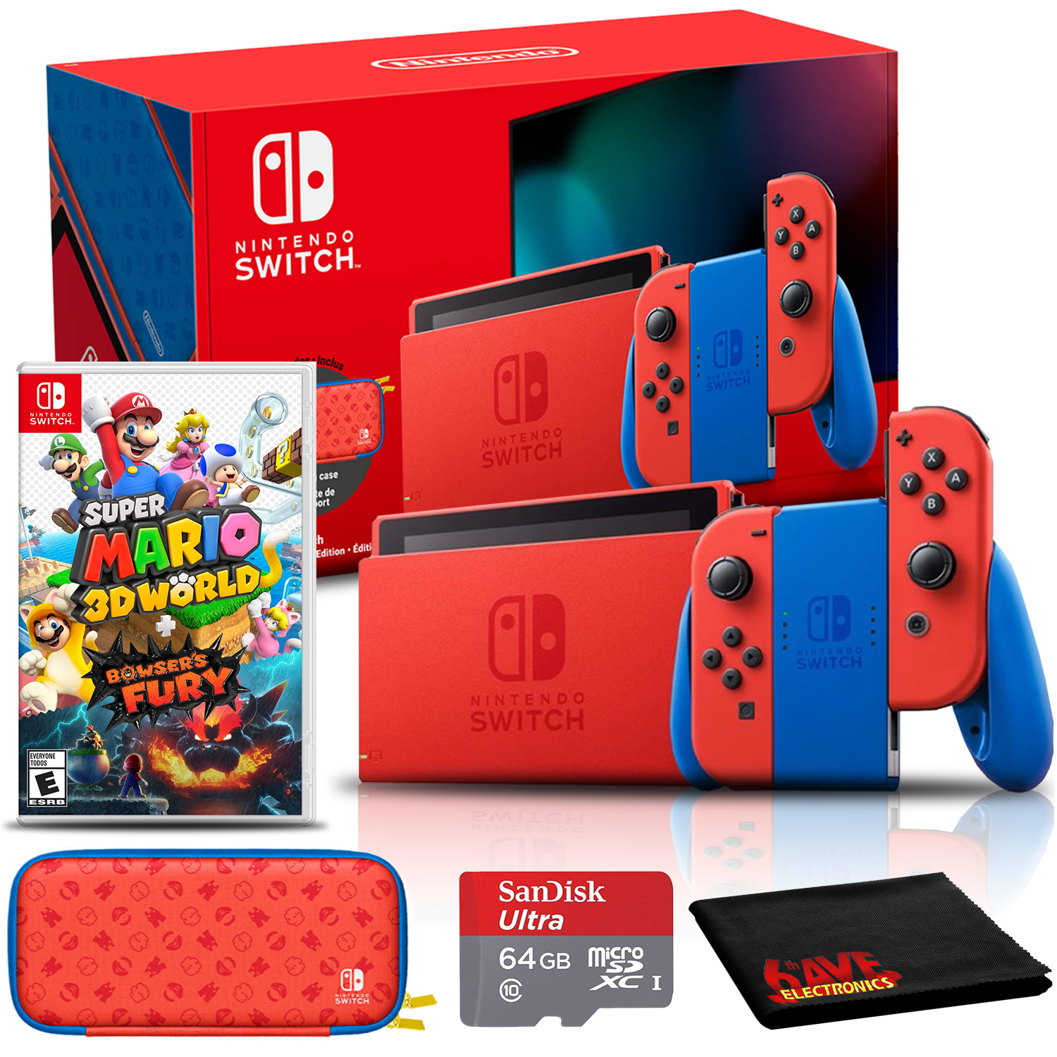 miniature 12 - Nintendo Switch Gaming Console Bundle with Super Mario 3D World + Bowser's Fury