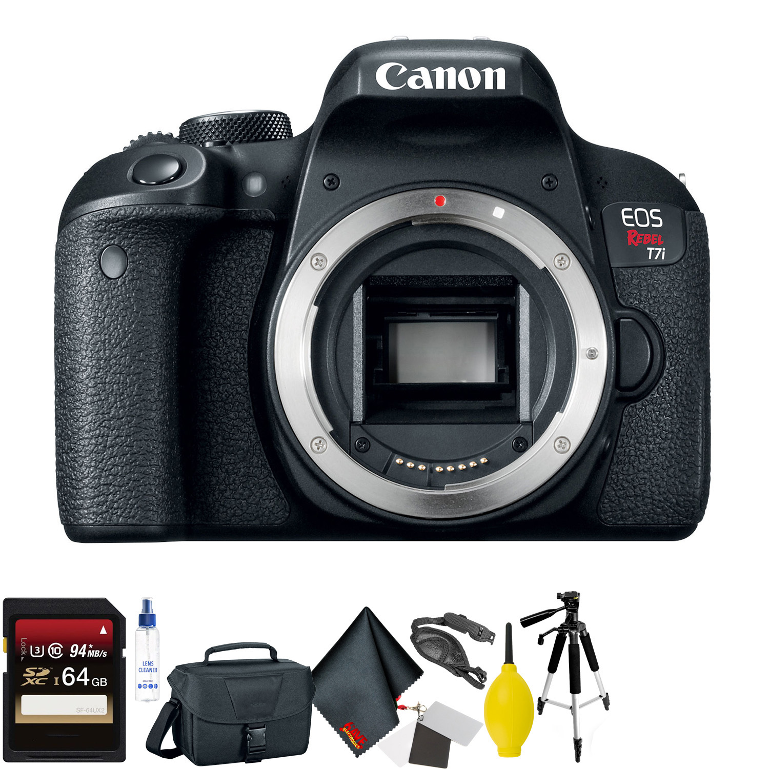 Canon EOS Rebel T7i DSLR Camera Body Only + 64GB Memory Card